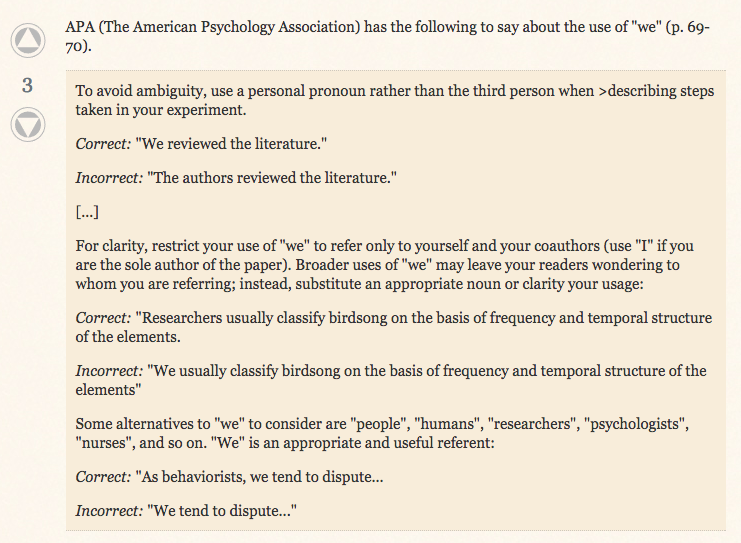 "APA about the use of ""we"""