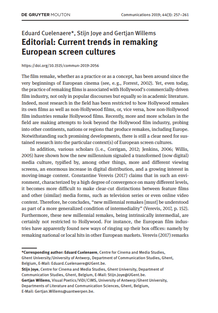 Editorial Special Issue EUR remakes