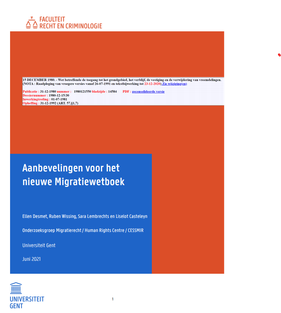 afbeelding aanbevelingen voor het nieuwe Migratiewetboek