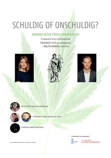 Affiche kondigt de theatervoorstellingen 'Cannabis Sativa: Proces van een plant' aan.