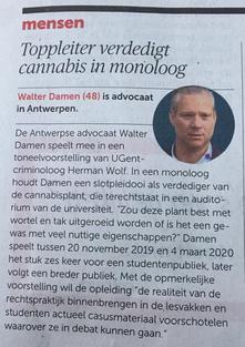 Krantenartikel over toneelstuk 'Cannabis Sativa - Proces van een plant'