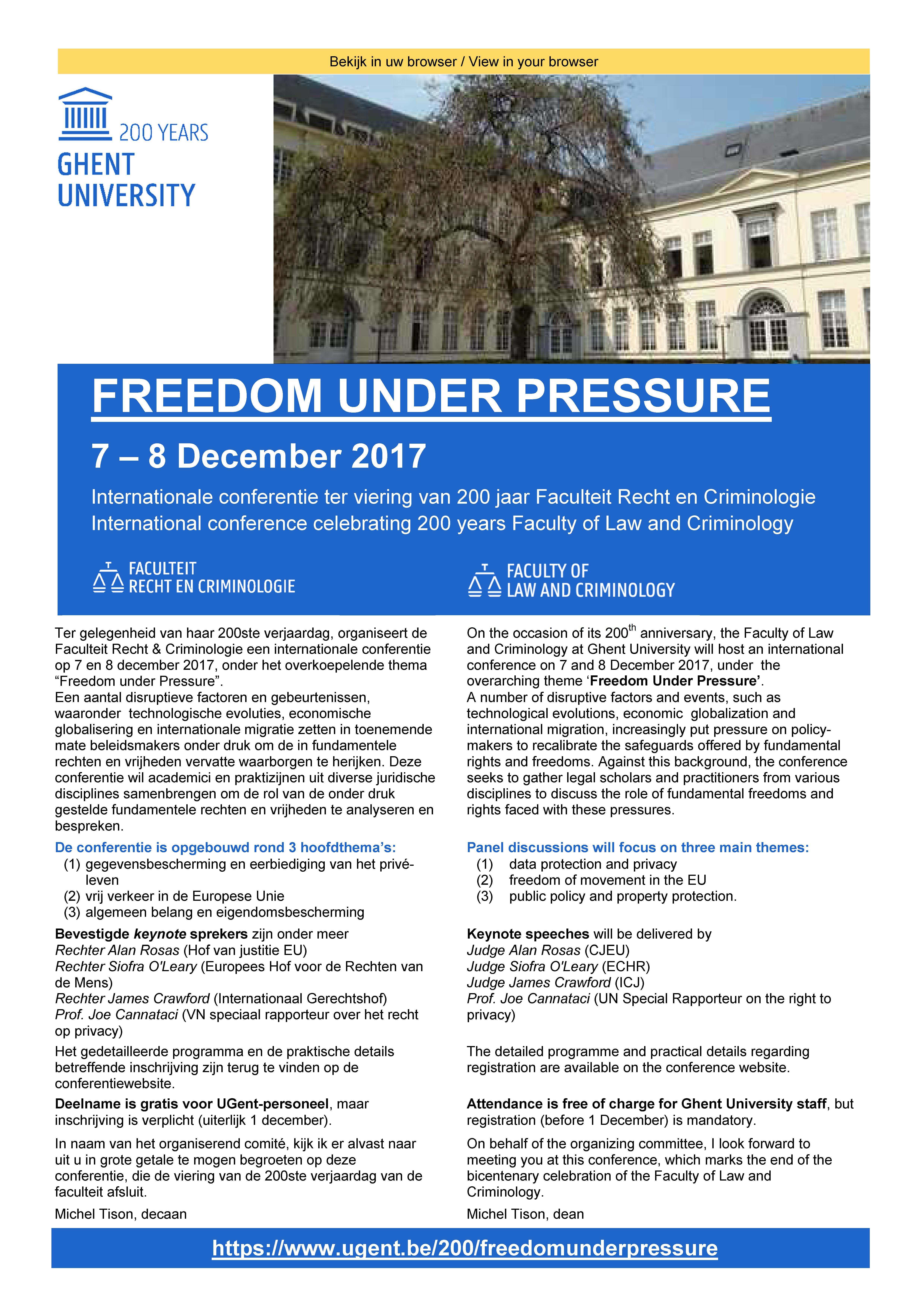 Uitnodiging Freedom Under Pressure - faculteit