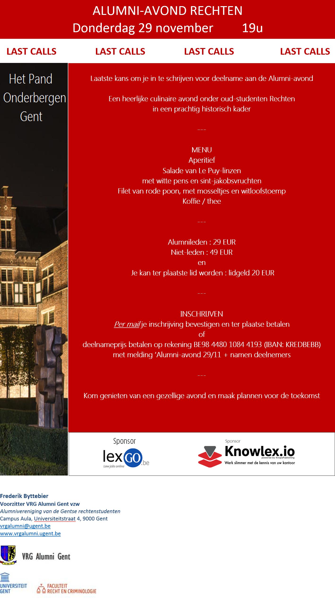 Alumniavond 29 November 2018 - Last calls