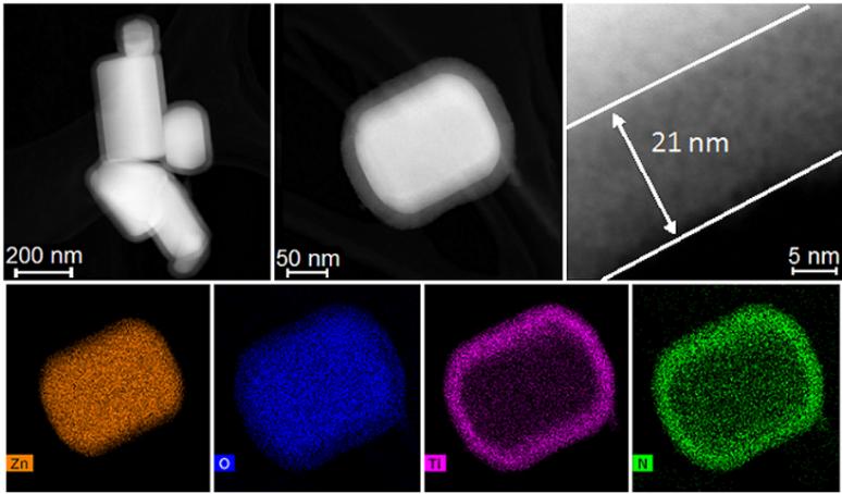 ZnO nanopoeder, gecoat met 21 nm TiN m.b.v. plasma-geassisteerde ALD.