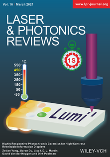 Illustration of how the K0.5Na0.5NbO3‐Eu ceramic can be used as a hand-rewritable display thanks to its fast response time and high color contrast. A thermal treatment erases the optically written message on this photochromic material. Cover art of Yang, Z., Du, J., Martin, L. I. D. J., Van der, D., Poelman, D., Highly Responsive Photochromic Ceramics for High‐Contrast Rewritable Information Displays. Laser & Photonics Reviews 2021, 2000525.