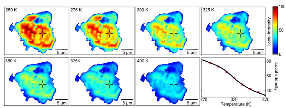(Figure: mapping of CL emission intensity of a phosphor particle at different temperatures. For each pixel, the influence of temperature can be investigated, and used to model the thermal quenching behaviour)