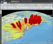 Screenshot van output gegenereerd met het programma ArcView van ESRI voor de cursus GISsen met aardrijkskunde.
