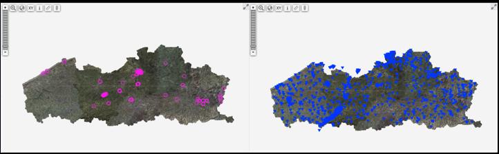 DOV metingen uit UGent archief: boringen (links) en boorgatmetingen (rechts)